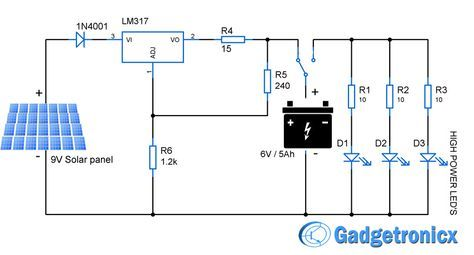 Solar powered led light circuit diagram and schematic design. Emergency household lighting using power LEDs powered by the solar panel and lead acid battery