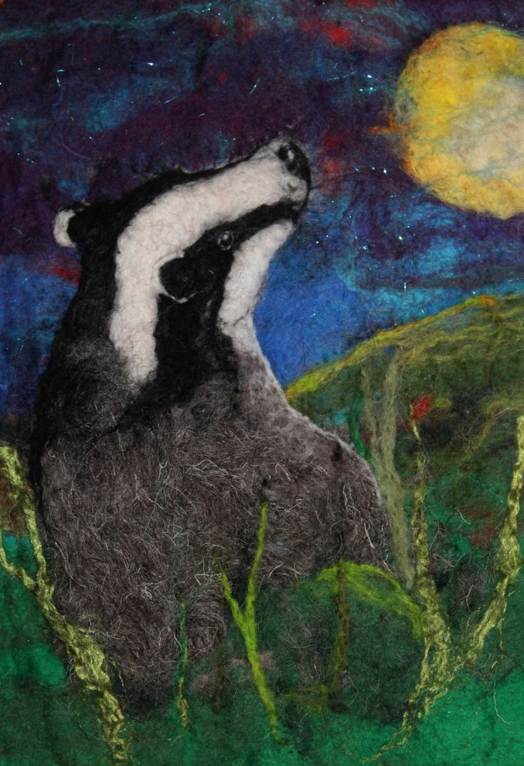 Moon Gazer, delightful felted picture of a badger cub gazing at the moon, mounted ready to frame by GardenGalleryDerbys on Etsy