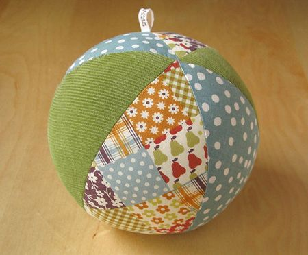 DIY Ball with fabric scraps - pattern provided in write up.