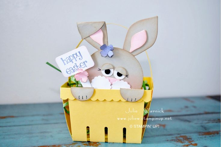Punch Art Bunny Basket by Julie Warnick using Berry Basket Bigz L die by Stampin' Up!