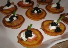Italian Appetizers:  Polenta Cakes with Salmon and Caviar:    You don't need to use an expensive caviar for this recipe. You can usually find   black lumpfish caviar in the canned fish area of your supermarket.  If you can't find creme fraiche, substitute sour cream.