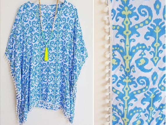 Beach kaftan Teal and pale lime tribal print by Brightnewpenny                                                                                                                                                                                 More