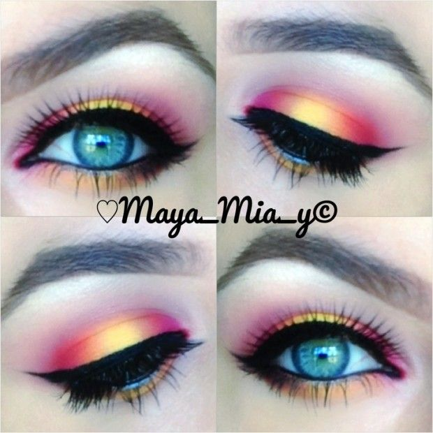 Blue eye makeup | dramatic | this look could honestly work for any eye color, but the rustler hughes from the yellow and pink mixing compliment blue eyes the best.