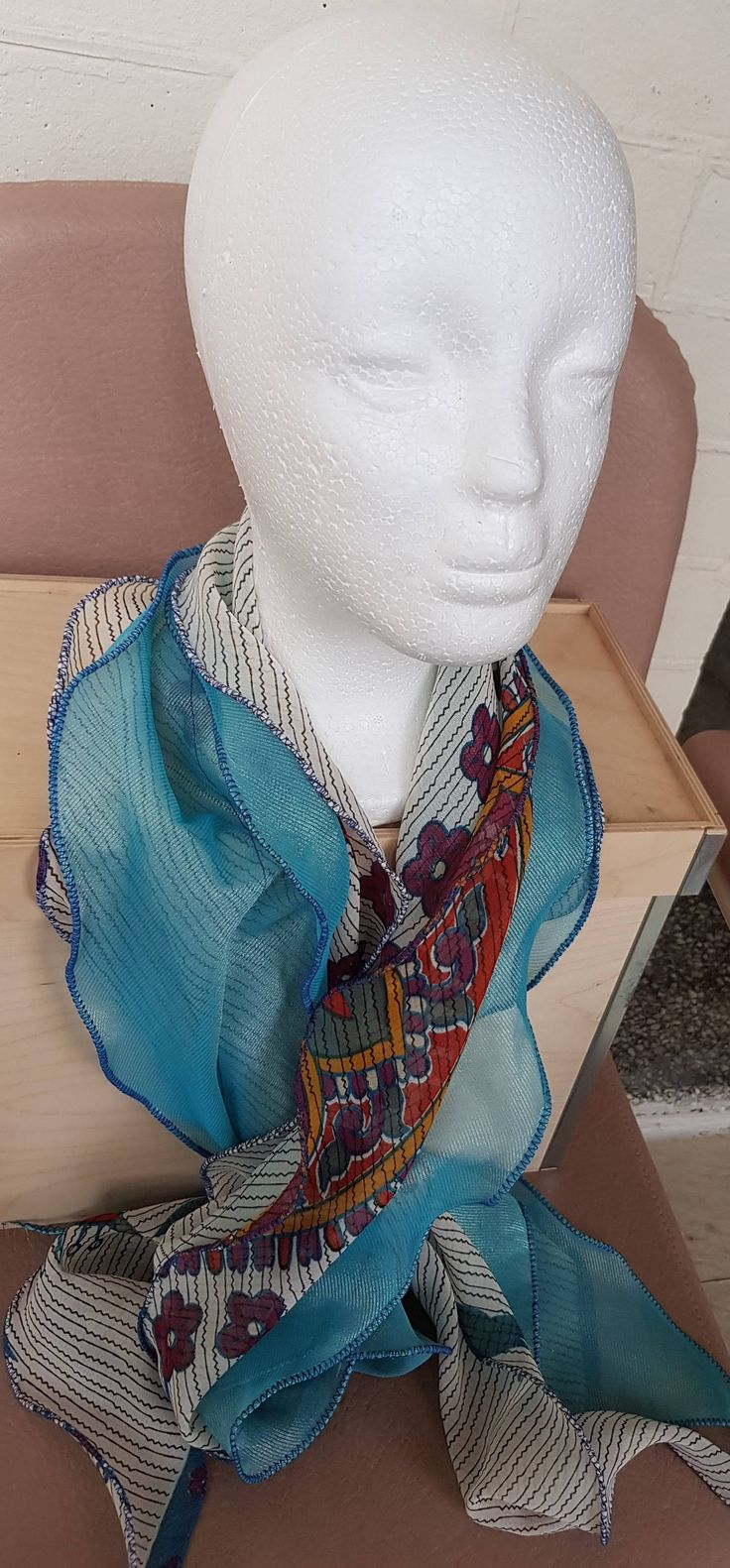 Turquoise Blue and Printed White Bias, Ruffled, Double Layered Scarf with Picot Hem by KalaaStudio on Etsy