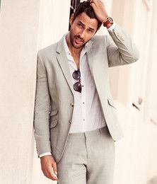 Wholesale Summer Casual Grey Linen Suits Notched Lapel men wedding suits Sea grooms tuxedos two piece mens suits slim fit Beach groomsmen suits