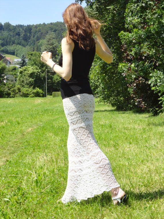 Knit maxi skirt PATTERN, Shetland knit pattern, perfect for hot summer, transforms to a strapless dress, lace knit skirt pattern,
