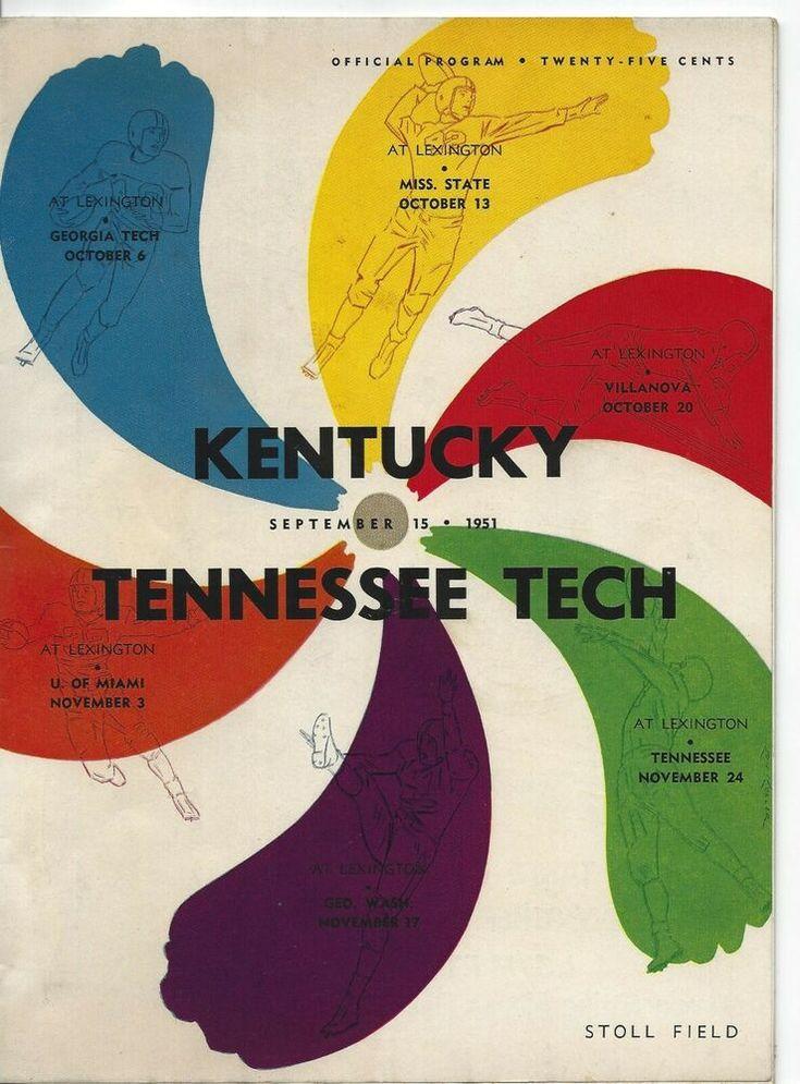 1951 Kentucky Football Program VS Tennessee Tech See