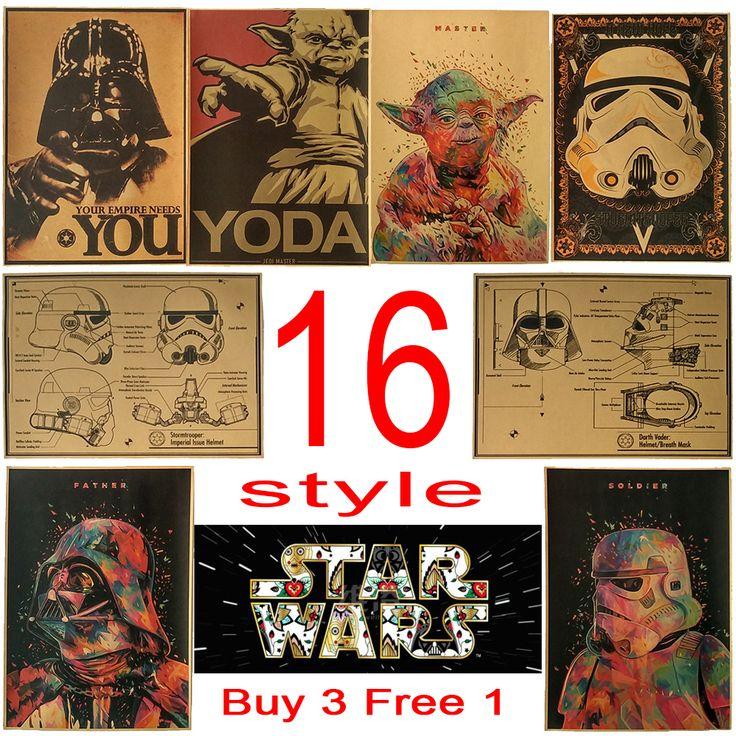 vintage poster Star wars movie retro poster kraft paper wall sticker Bar Cafe living room [Affiliate]