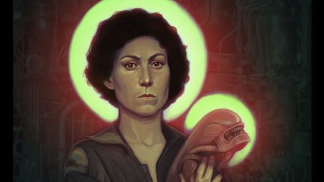 Ripley and her Alien Chestburster are beatified as Madonna and Child