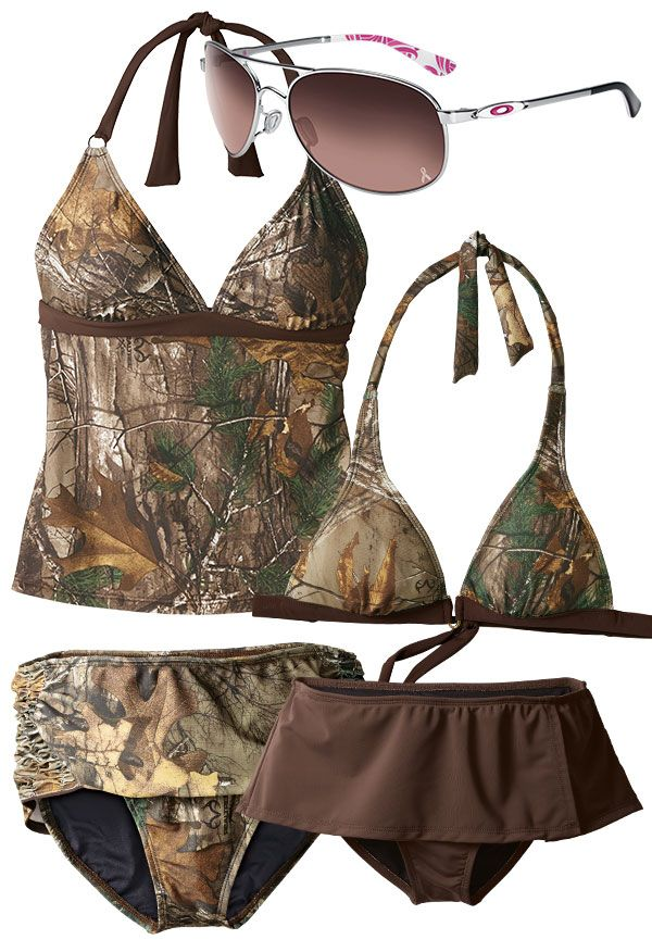 Mix and match these camo swimsuit pieces.