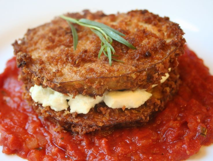 Eggplant and Goat-Cheese Sandwiches with Tomato Sauce