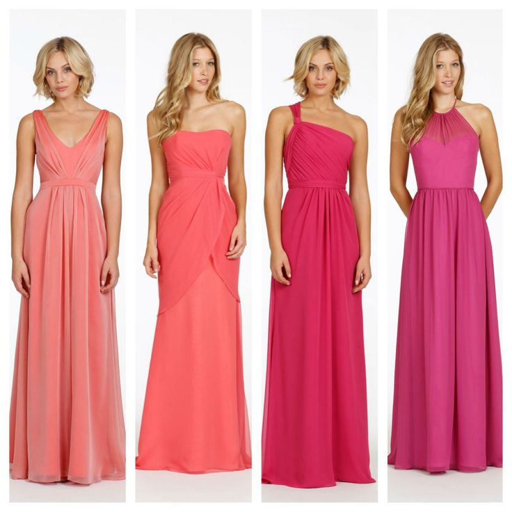 Jim Helm Occasions Bridesmaids dresses. From left to right, styles 5402 in coral, style 5411 in melon, style 5403 in fuchsia, and style 5404 in raspberry.