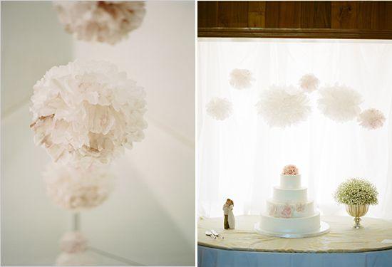pompoms voor de bruiloft -