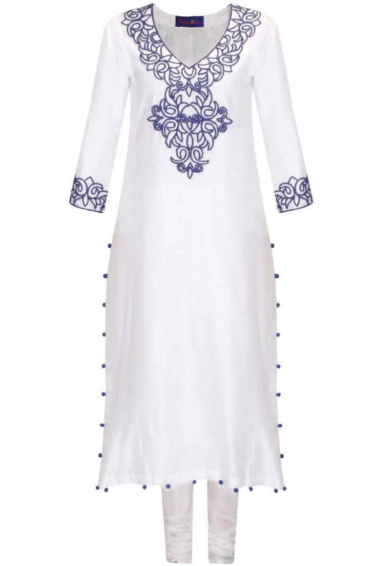 White and blue embroidered straight kurta set by Seema Khan. Shop now: http://www.perniaspopupshop.com/designers/seema-khan #kurtaset #seemakhan #shopnow #perniaspopupshop