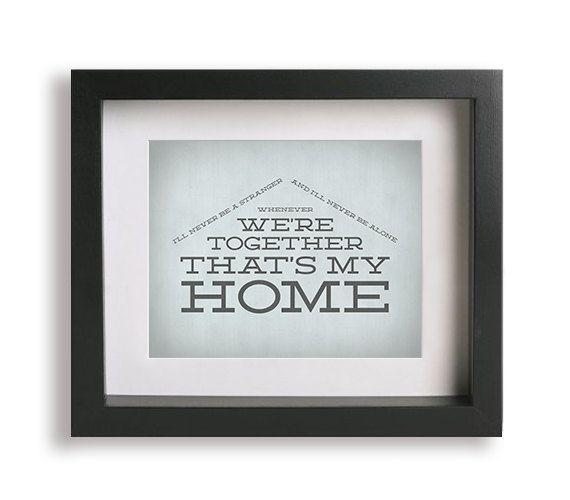 You're My Home / Billy Joel - Music Lyric Art Print - wall art, typography print, wall decor, gift idea, house, wedding gift, anniversary