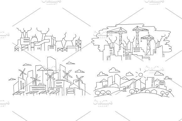 Ecological problems. City and factories. Hand drawn vector illustration. Renewable energy city and pollution environment. Building