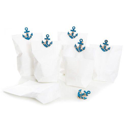 Papiertüten weiß (14 x 22 x 5,6 cm) mit blauen Anker Holzklammern zum Verschließen für Gastgeschenke