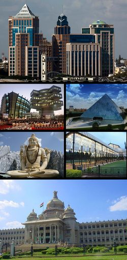 Clockwise from top: UB City, Infosys, Glass house at Lal Bagh, Vidhana Soudha, Shiva statue, Bagmane Tech Park