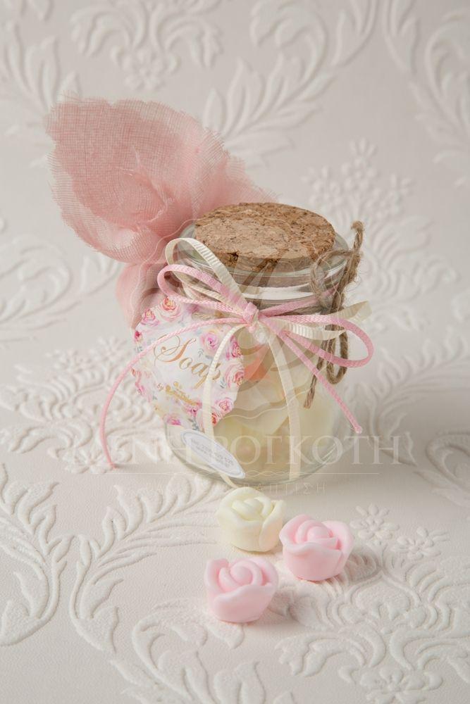 1cdde15399f Μπομπονιέρα βάπτισης για κορίτσι βαζάκι με σαπουνάκια τριανταφυλλάκια ροζ  και εκρού