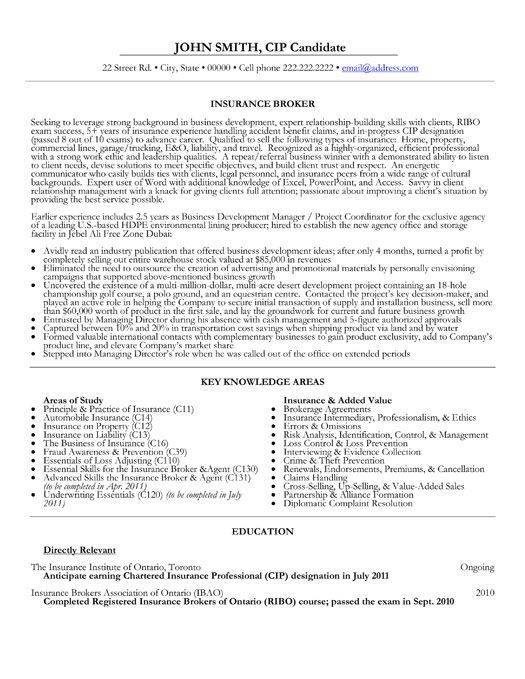 Insurance Broker Resume Template Sample -    jobresumesample - insurance sample resume