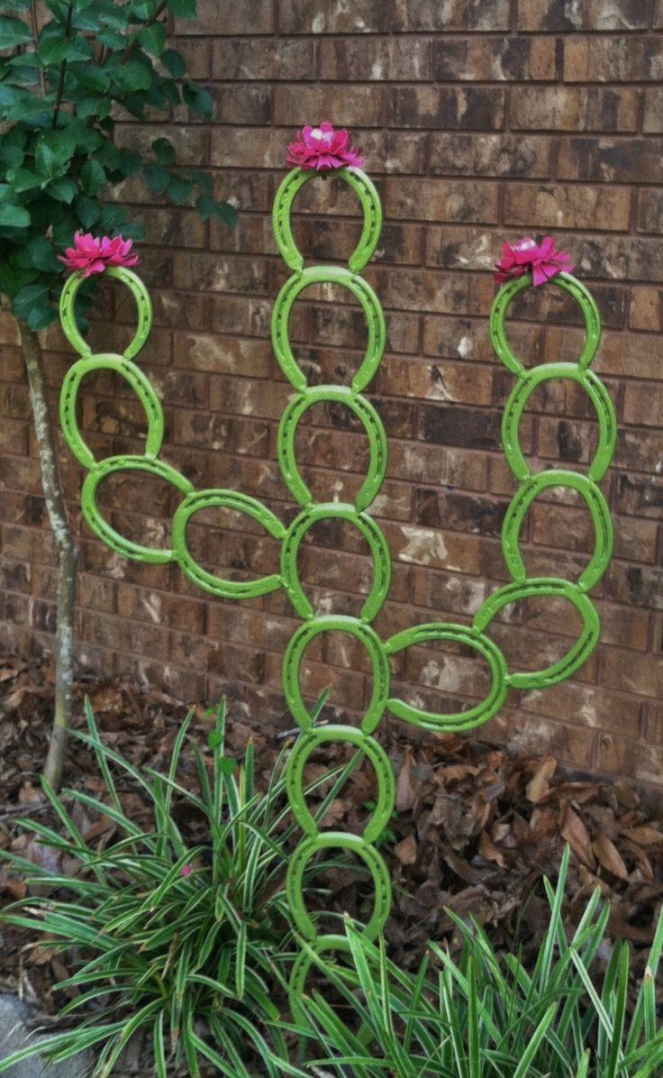 Saguaro Horseshoe Cactus  Horseshoe Yard Art by LowerArkCrafts on Etsy