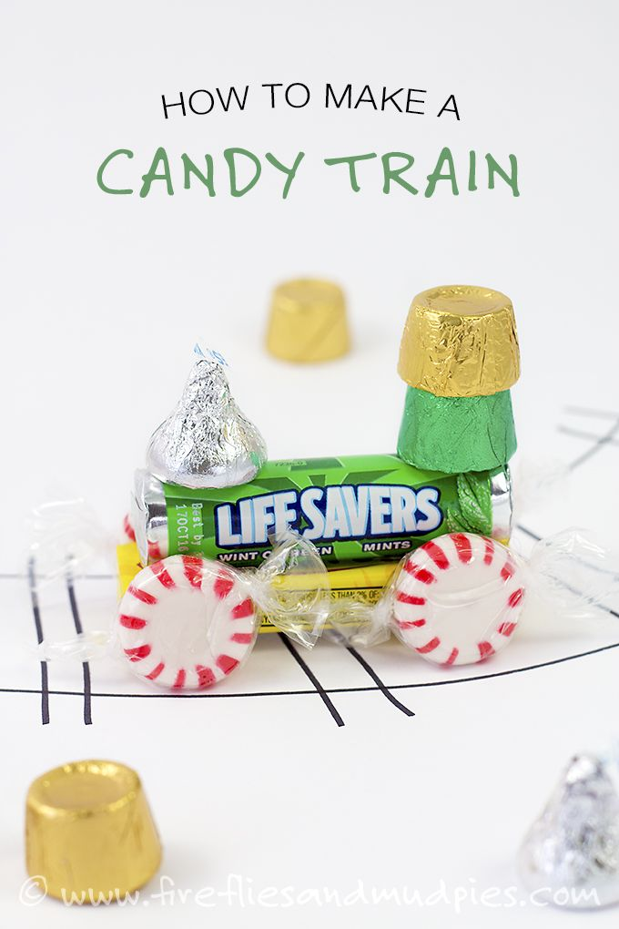 How to Make a Candy Train. Such a fun ornament, holiday craft, or party favor for kids! | Fireflies and Mud Pies