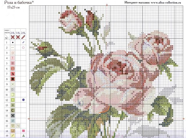 """Милые сердцу штучки: Вышивка крестом: """"Роза и бабочка"""" (схема)"""