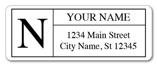 """Personalized Return Address Labels - Monogram Design - 120 Custom Gift Stickers  120 Address Labels Printed in 4 Sheets of 8.5"""" x 11"""" Self Adhesive Paper.  Size 2-5/8 x 1 inches. Round Corners. Color Printing.  Up to 4 Lines of Personalization, 32 Characters per Line.  Monogram Design. Centered Text. Matte Finish.  Printed in USA by Guajolote Prints"""