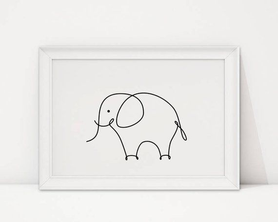 Elephant print, Nursery animals wall art, elephant baby room decor, Modern nursery decor, minimalist