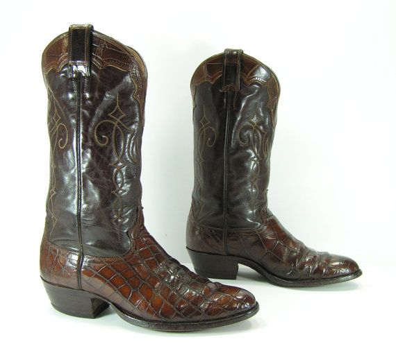 Alligator Cowboy Boots Mens 9 D Brown Justin By