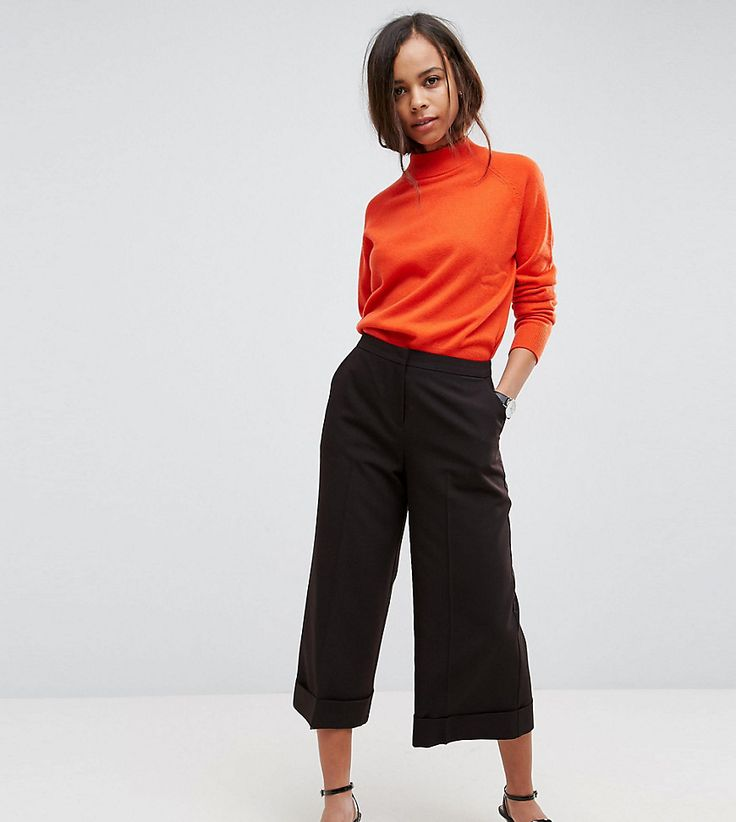 ASOS PETITE Mix & Match Clean Culotte with Turn Up - Black