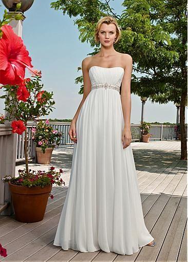 Elegant Charming Chiffon Scooped Neckline Empire Waist Wedding Dress