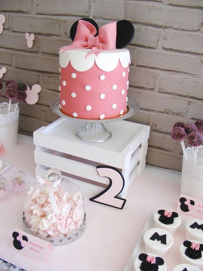 Cake + Sweets from a Minnie Mouse Birthday Party via Kara's Party Ideas   KarasPartyIdeas.com (5)
