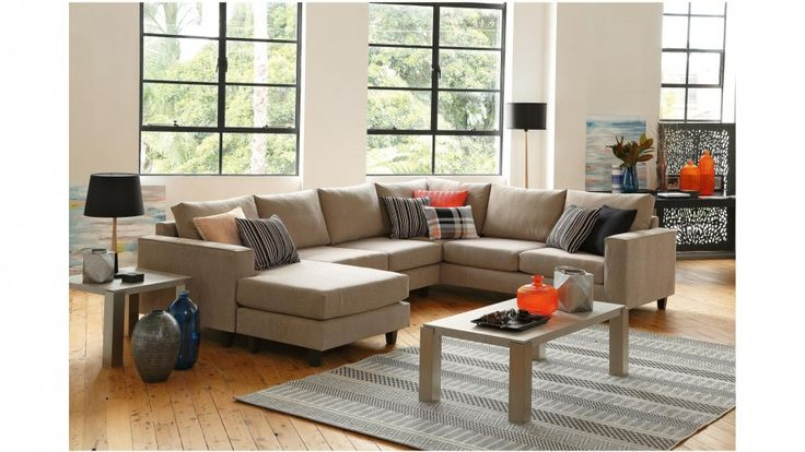 Yarra MK2 Fabric Corner Lounge with Chaise - Lounges - Living Room - Furniture, Outdoor & BBQs | Harvey Norman Australia