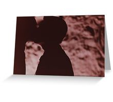Gay wedding grooms kiss silhouette black and white film handmade ra-4 print fine art analog wedding photo Greeting Card