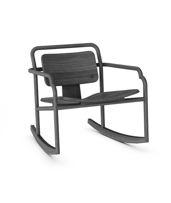 Marceau Rocking Chair. Tribute to C and R Eames Asian redesign Rocking chair in solid oak
