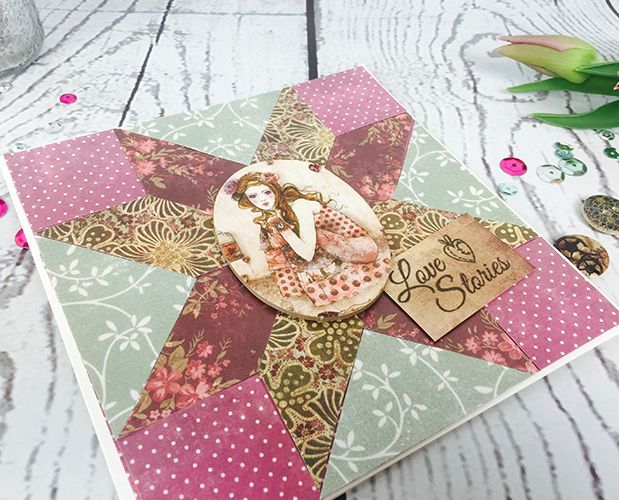 Learn to makr this SANTORO®'s Willow Patchwork Card Tutorial with Free Printable Template