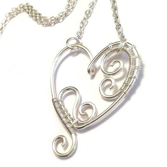 Wire Heart Pendants | Wire Wrapped Heart Pendant Heart Necklace by KianDesigns on Etsy, £18 ...