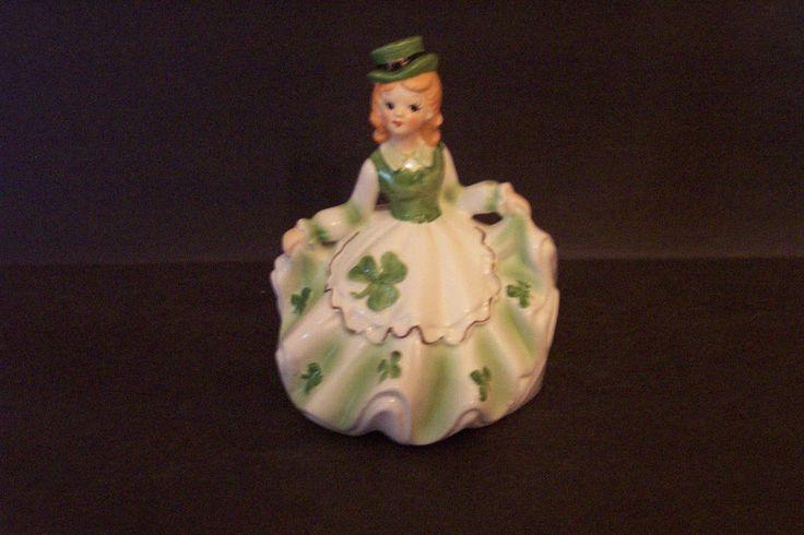 Vintage Ceramic Lefton Irish Girl Music Box When Irish Eyes Are Smiling