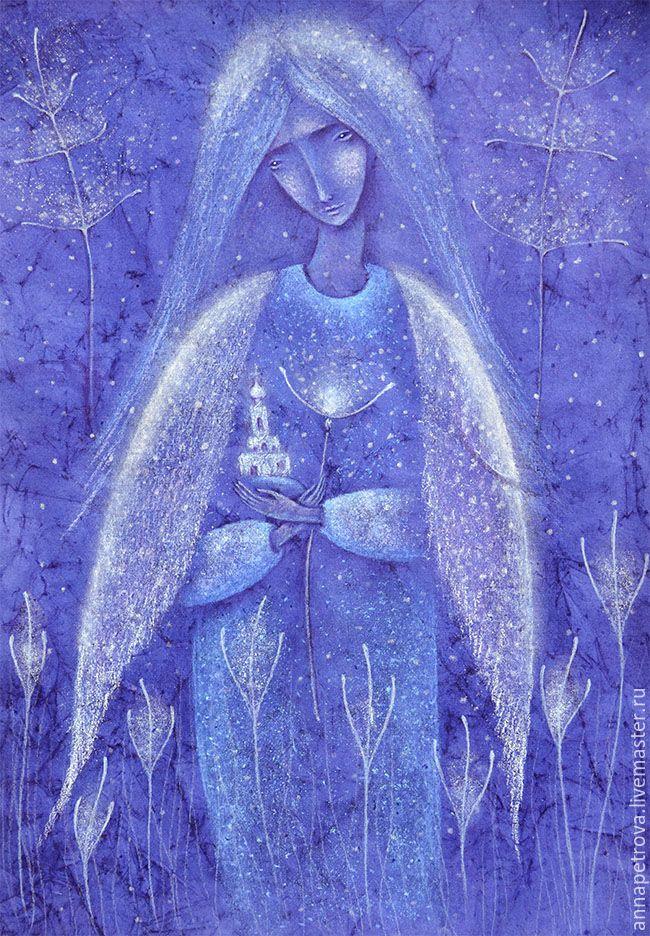 Pastel painting / Купить Благовест. Картина пастелью. Вечер, молитва. - синий, молитва, благсеов, картина ангел