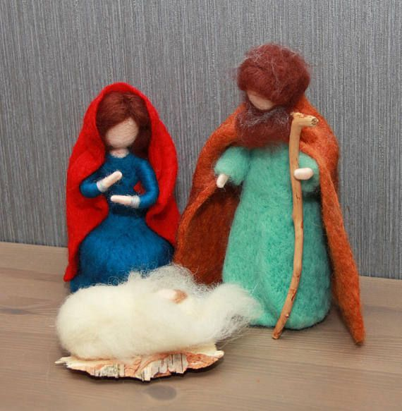 Needle felted Nativity Scene. Holy family Waldorf inspired