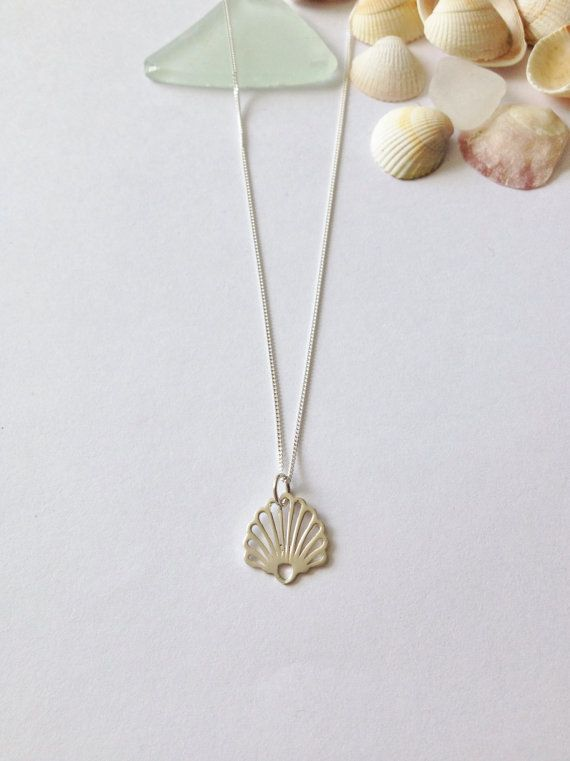 Sterling Silver Shell Necklacebeach by WhitePebbleJewellery