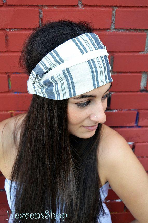 Striped Viscoss White And Grey Bandana Wide Turban by HeavensShop, €13.00