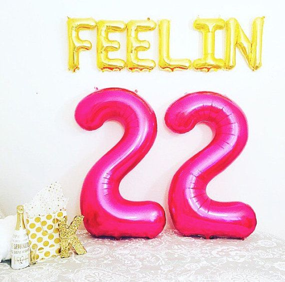 Pink LARGE 22 Balloon 22nd Birthday Feelin 22 22 by girlygifts07