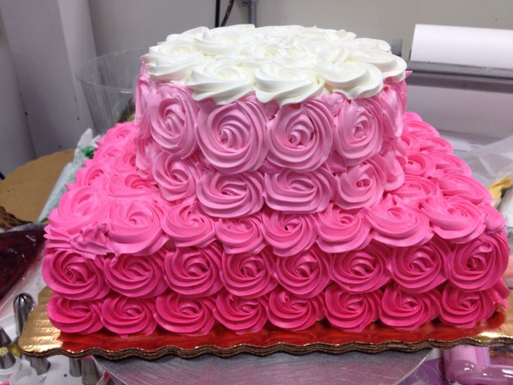 Ombré pink rosette cake. 1/4 sheet and 7""
