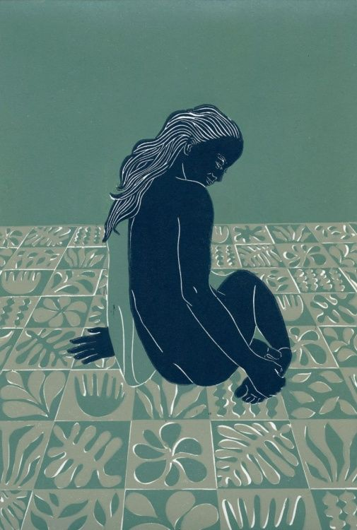 Reverie in Green (2016) Linocut by Ellen Von Wiegand | Artfinder