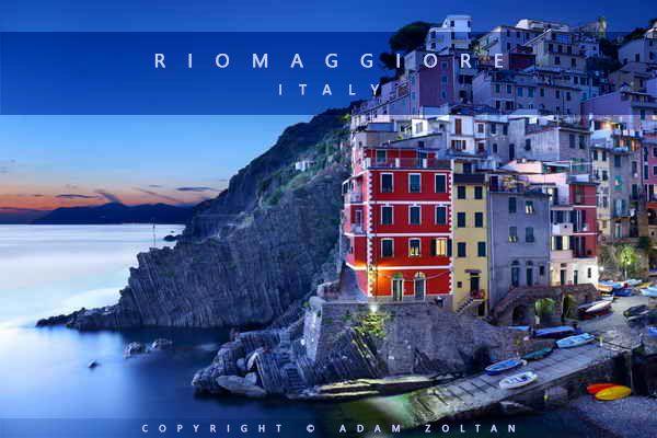 Riomaggiore in the evening, Italy