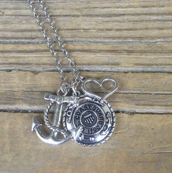 He guards the coast, you guard his heart! Support your Coastie and show your love is deep by wearing this statement necklace! This beautiful, yet simple, design features a silver Coast Guard, silver anchor charm, and a silver open heart charm. You will receive the necklace shown in the
