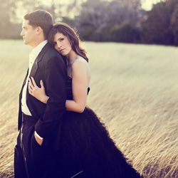 Rustic glam engagement photo.
