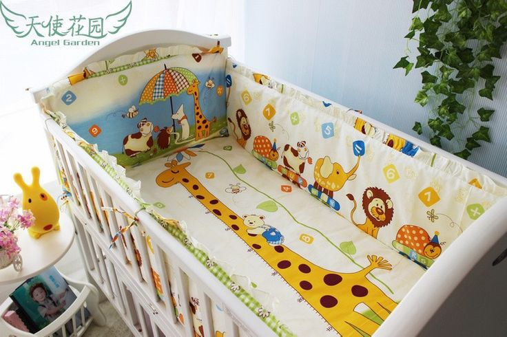Promotion! 6pcs Bedding Set for Crib!!!Baby Cot Bed,Wholesale and Retail Children Cot Sets, include(bumpers+sheet+pillow cover)